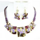 NS746  Golden Tone Enamel Jewelry Lite & Dark Purple Necklace Set Ethnic Jewelry