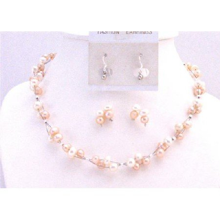 NS758  Peach & Ivory Freshwater Pearls Jewelry Set Multi Strand Sterling Silver Earrings