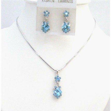 NS760  Wedding Jewelry Aquamarine Crystals Inexpensive Bridemaids Bridal Jewelry Set