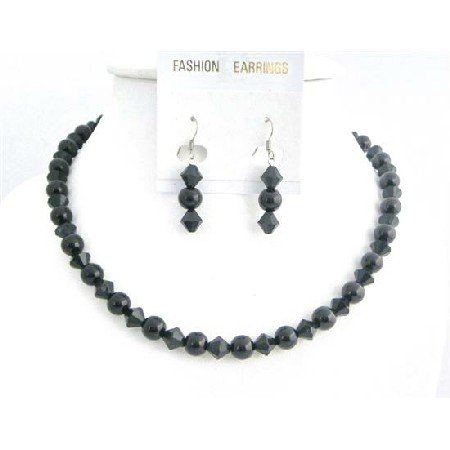 NS762 Pearls Wedding Bridemaids Party Jewelry Black Pearls And Black Crystals Necklace Set