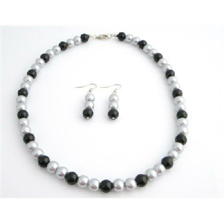 NS765  Pearls Jewelry Special Wedding Silver & Black Dress
