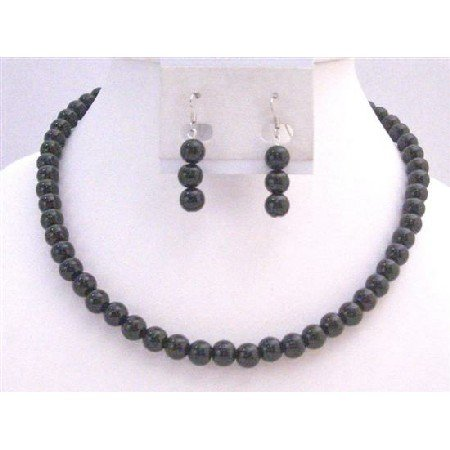 NS767  Black Pearls Wedding Jewelry Under $10 Necklace Set The Least Expensive Pearls