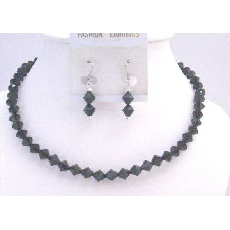 NS768  Black Crystals Necklace Set 6mm Bicone Crystals Jewelry Under $10 Wedding Jewelry