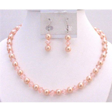 NS769  Peach Pearls And Chinese Orange Crystals Necklace Set Pearls