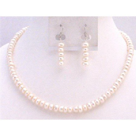NS771  Natural Freshwater Pearls Ivory Color Necklace Set Exclusive Wedding Jewelry