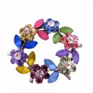 B124  Multi Crystals Flower Brooch Round Flower Crystals Brooch