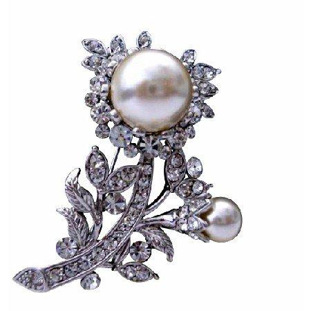 B063  Wedding Bridal Jewelry Pearls Fully Embedded Cubic Zircon Dress Brooch