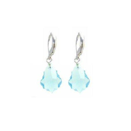 ERC620  Baroque Aquamarine Swarovski Crystals In Sterling Silver 92.5 Earrings