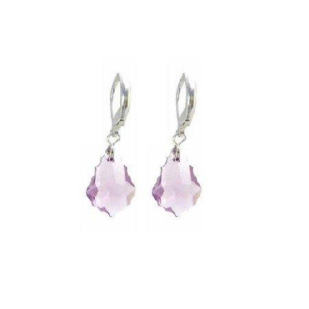 ERC622  Lite Amethyst Baroque Genuine Swarovski Crystals Sterling Earrings