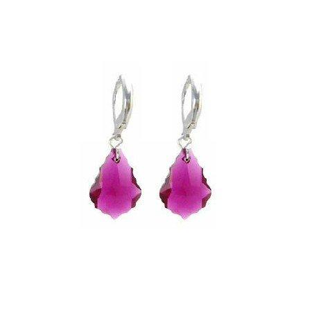 ERC624  Fascinate Trendy Ruby Baroque Crystals Sterling Leverback 925 Earrings
