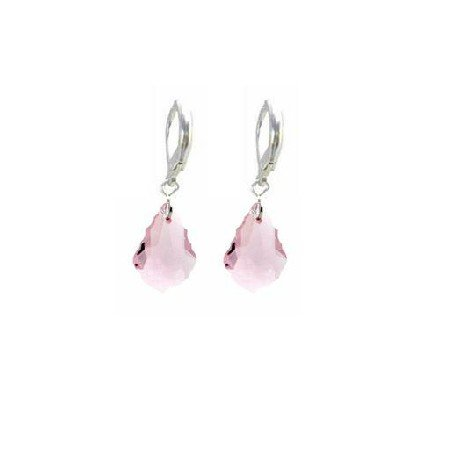 ERC625  Baroque Crystals Multi Faceted Rose Crystals Earrings Sterling 92.5