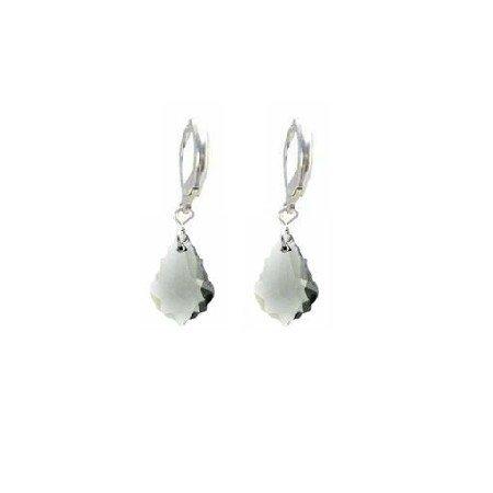 ERC626  Multi Faceted Baroque Black Diamond Crystals Sterling 92.5 Hoop Earrings