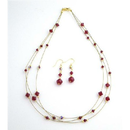 BRD987  Handcraft Your Jewelry Siam Red Crystals AB Siam Red 3 Strand Necklace Set