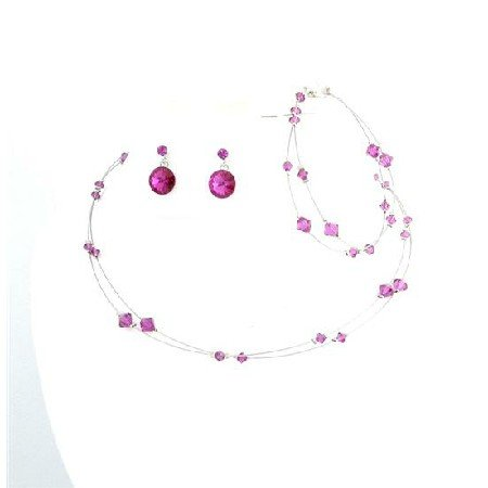BRD990  Fabulous Crystals Fuschia Jewelry Bridal Prom Bridemaids Complete Set