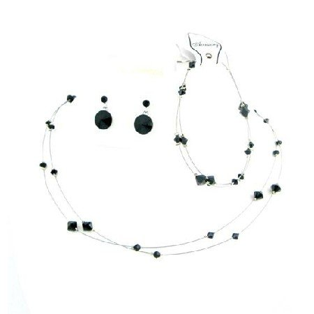BRD991  Striking Smashing Black Dress Jewelry Affordable Buy Complete Set