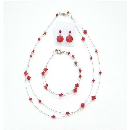 BRD994  Custom Jewelry Lite Siam Red Attire Affordable Genuine Crystal Jewelry
