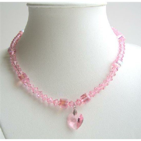 NSC489 Rose Pink Genuine Swarovski Crystals w/ AB Rose Pink Crystals Heart Pendant Necklace