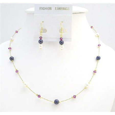 BRD005  Cheap Bridesmaid Dark Purple Ivory Pearls & Fuschia Crystals Jewelry Set