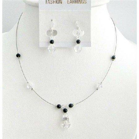 BRD006  Customize Cheap Swarovski Pearls Crystals Black Clear Crystals Jewelry Set