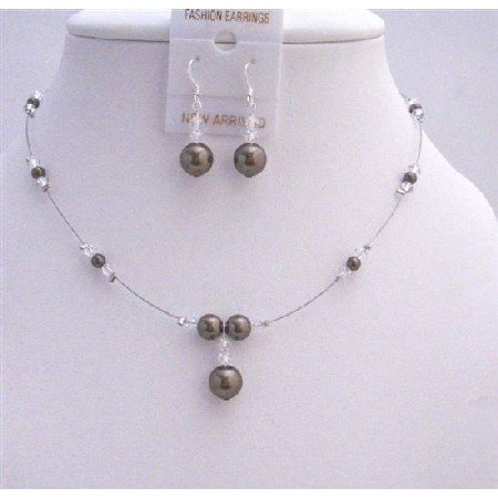 BRD007  Bridal Party Gifts Dark Brown Pearls w/ Clear Crystals Beads Set