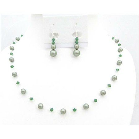 BRD010  Designer Swarovski Jewelry Clover Crystals w/ Green Pearls Jewelry Set