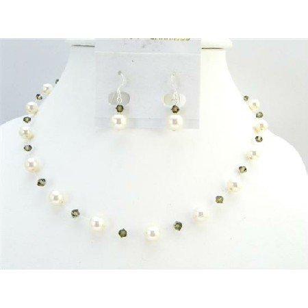 BRD011  Low Prices Ivory Pearls Smoky Quartz Swarovski Crystal Fashion Jewelry Set