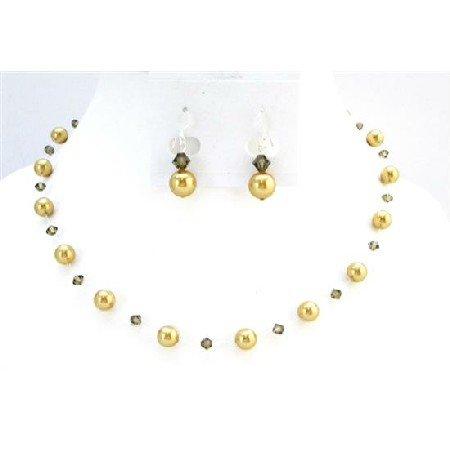 BRD012  Bridal Jewelry Low Prices Swarovski Golden Pearls Smoky Quartz Jewelry Set