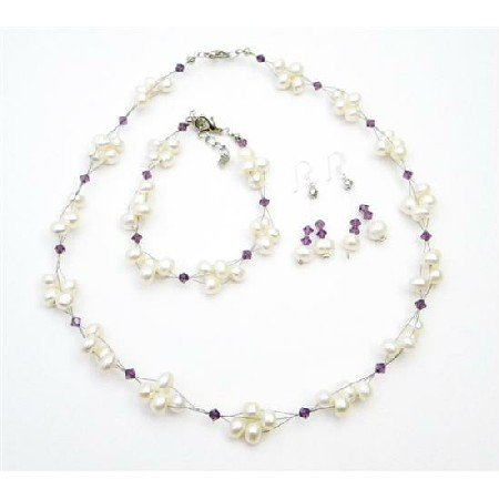 BRD013  Interwoven Necklace Amethyst Crystals Freshwater Pearls Wedding Set