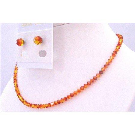 NSC683  Swarovski String Inexpensive Wedding Jewelry Fire Opal Crystals Set