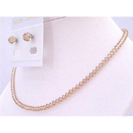 NSC684  Universal Jewelry Swarovski Colorado Crystals Necklace & Stud Earrings Set