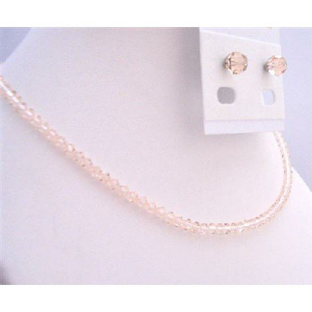 NSC686  Crystals Silk Color Swarovski Necklace & Earrings Inexpensive Jewelry