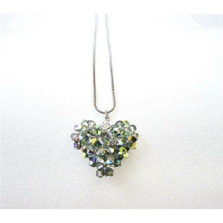 NSC710  Handmade Swarovski Crystals Vitral Medium Crystals Pendant Necklace