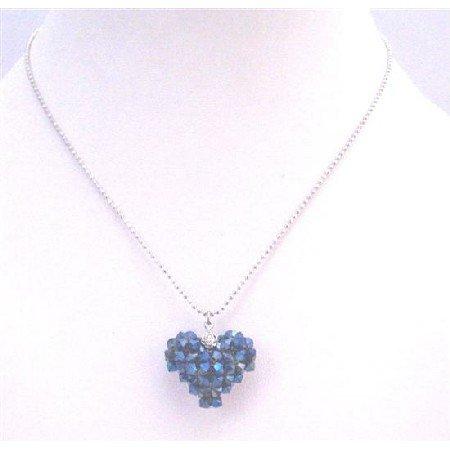 NSC712  Morion AB 2X 4mm Crystal Puffy Heart Pendant Romantic Stunning Pendant