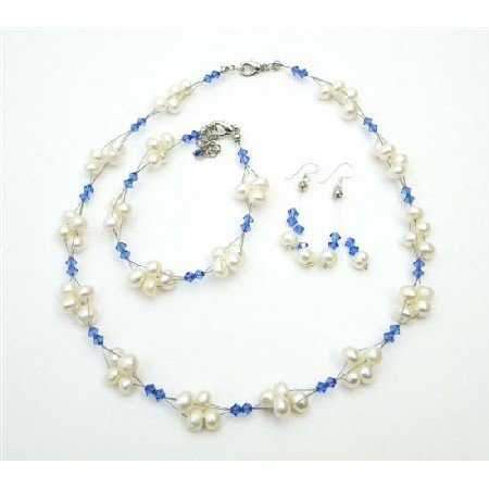 NSC714  Unique Cheap Swarovski Crystals Freshwater Pearl Sapphire Blue Jewelry