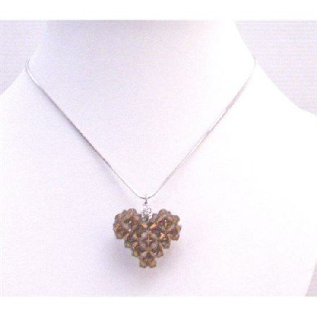 NSC718  Brown Puffy Heart Smoked Topaz Swarovski Crystals Pendant Necklace