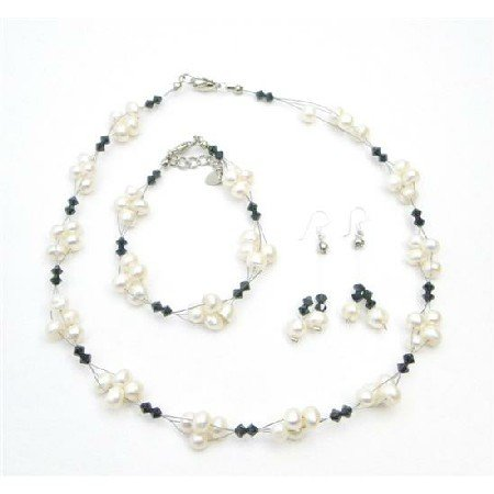 NSC721  Jet Crystals Necklace & Earrings Set Fashion Freshwater Pearls Jewelry