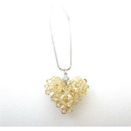 NSC726  Golden Shadow Crystals Puffy Heart Pendant Handmade Romantic Jewelry