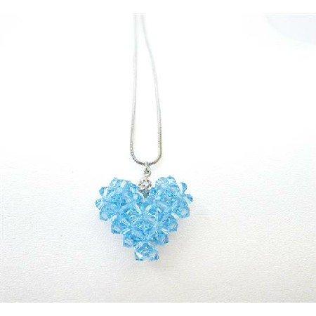 NSC727  Swarovski Aquamarine Crystals Puffy Heart Pendant Custom Heart Jewelry