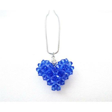 NSC728  Custom Valentine In Your Crystals Sapphire Puffy Heart Pendant Jewelry
