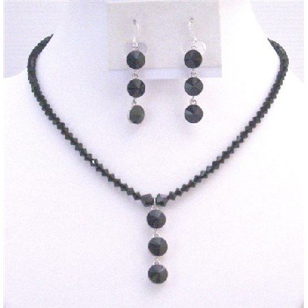 NSC730  Affordable Inexpensive Jet Black Crystals Necklace & Earrings Jewelry