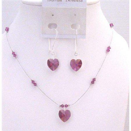 NSC732  Truly Love Artisan Romantic Fuschia Crystals Heart Pendant Jewelry