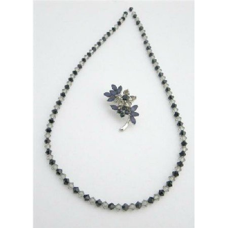 NSC735  Inexpensive Necklace & Brooch Wedding Party Jet Black Diamond Crystals