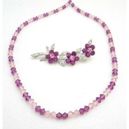 NSC736  Swarovski Crystals Combo of Necklace & Brooch Fuschia & Rose Crystals