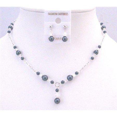 NSC738  Trendy Classy Stylish Tahitian Pearls & Clear Crystals Wedding Jewelry