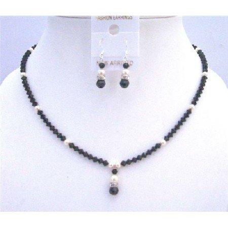 NSC741  Handmade Jewelry Combo Black & Ivory Jet Crystals & Ivory Pearls Set