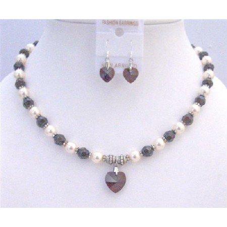 NSC742  Garnet Crystals Cream Pearls & Bali Silver Spacer Garnet Heart Jewelry