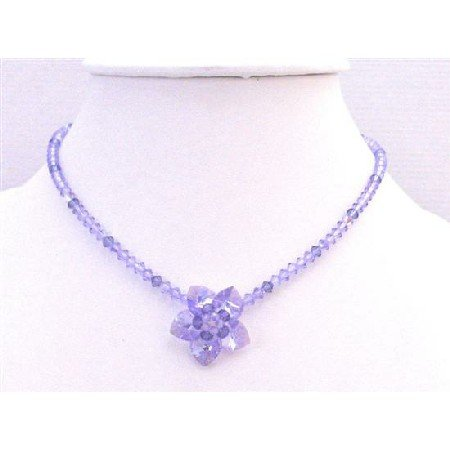 NSC747  Handmade Voilet & Amethyst Crystals Flower Heart Petals Necklace