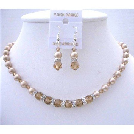 NSC753  Handmade Custom Jewelry Champagne Pearls Colorado Crystal Necklace Set