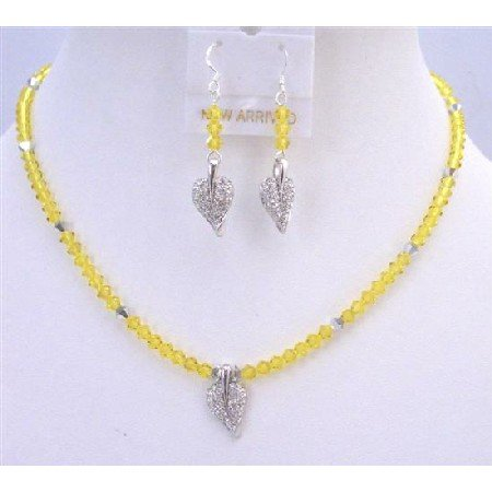 NSC761  Yellow Crystals Vintage Jewelry Citrine Crystals Leaf Pendant Earrings