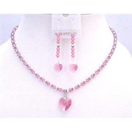 NSC763  Rose & Comet Argent Light Swarovski Crystals w/ Rose Heart Pendant Set